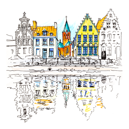 Scenic city view of Bruges canal with beautiful medieval houses, Belgium. Picture made markers Stock Photo