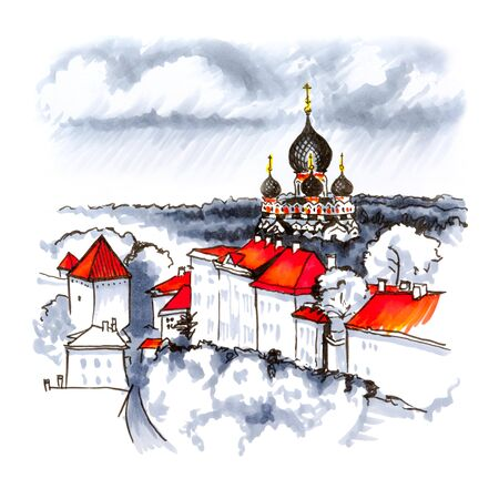 nebulous: Color hand drawing, Toompea hill with fortress wall, tower and Russian Orthodox Alexander Nevsky Cathedral, view from the tower of St. Olaf church on a rainy day, Tallinn, Estonia. Picture made liner and markers
