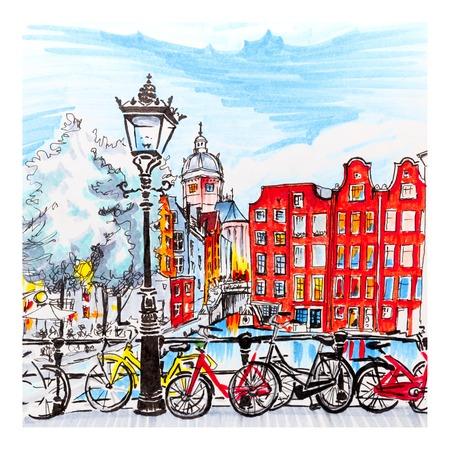 Color hand tekening, uitzicht op de stad Amsterdam typische huizen, Holland, Nederland. Foto gemaakt markers Stockfoto