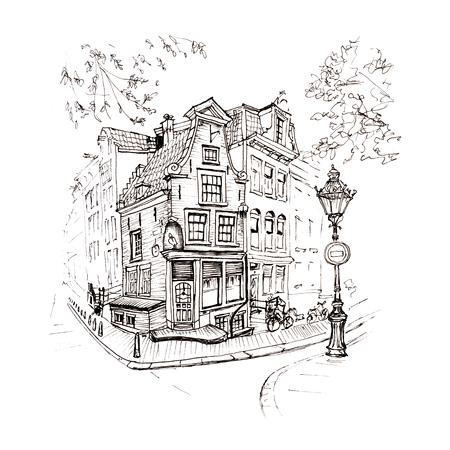 dessin à la main en noir et blanc, vue sur la ville d'Amsterdam maison typique avec cigogne et lanterne, Hollande, Pays-Bas. Photo doublure en