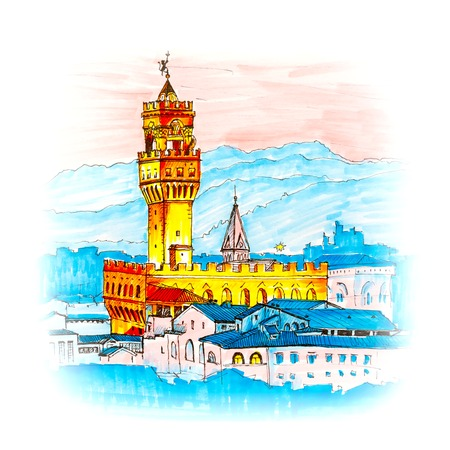 michelangelo: Famous Arnolfo tower of Palazzo Vecchio on the Piazza della Signoria at sunset from Piazzale Michelangelo in Florence, Tuscany, Italy. Picture made liner and markers