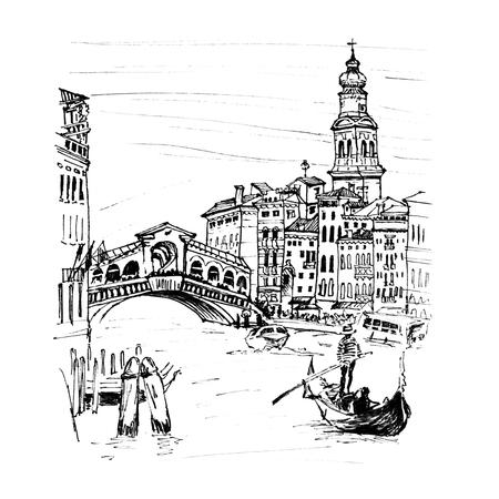 rialto: Grand Canal near bridge Ponte di Rialto in sketch style, Venice, Italy. Picture made liner