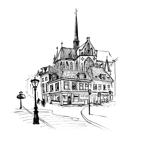 spire: Black and white hand drawing, city view of dutch typical house, lantern and spire of Sint Willibrordkerk, Utrecht, Netherlands. Picture made liner Stock Photo