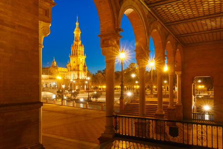 seville: Spain Square or Plaza de Espana in Seville at night, Andalusia, Spain