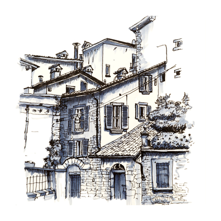 picturesque: Medieval Upper town Citta alta of Bergamo, Lombardy, Italy. Picture made liner and markers