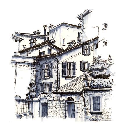 Medievale Città alta Città Alta di Bergamo, Lombardia, Italia. Immagine rivestimento realizzato e marcatori Archivio Fotografico