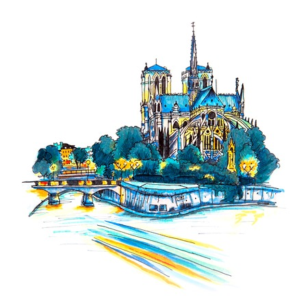 Gloomy cityscape with southern facade of Cathedral of Notre Dame de Paris, France. Picture made markers