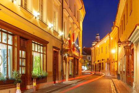 eventide: Picturesque Street at night in Old Town of Vilnius, Lithuania, Baltic states.