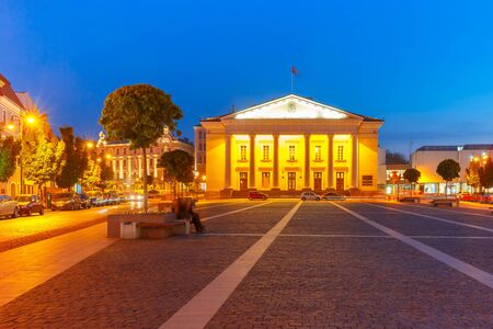 town hall square: Town Hall Square in Old Town at night of Vilnius, Lithuania, Baltic states. Stock Photo