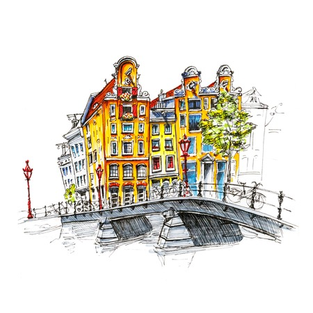 Color hand drawing, city view of Amsterdam typical houses and bridge, Holland, Netherlands. Picture made liner and markers Banco de Imagens