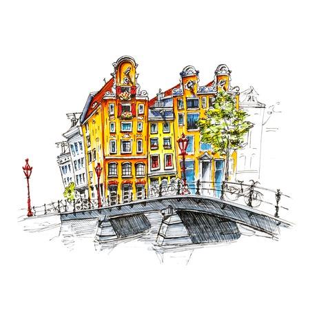 Color hand tekening, uitzicht op de stad Amsterdam typische huizen en brug, Holland, Nederland. Foto gemaakt liner en stiften Stockfoto