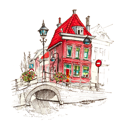 Color hand drawing, scenic city view of Delft with beautiful medieval houses, Holland, Netherlands. Picture made liner and markers 스톡 콘텐츠