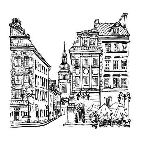 Piazza Castello, via Piwna e il campanile della chiesa di San Martino al mattino, Città Vecchia di Varsavia, in Polonia. Immagine fatta di linea
