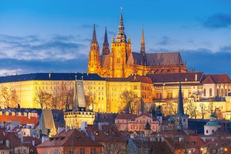 Prague Castle and Mala Strana or Little Quarter during twilight blue hour, Prague, Czech Republic.