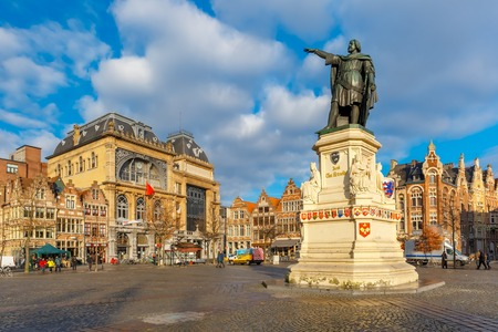 jacob: The famous square Friday Market with Jacob van Artevelde statue in the sunny morning, Ghent, Belgium Stock Photo