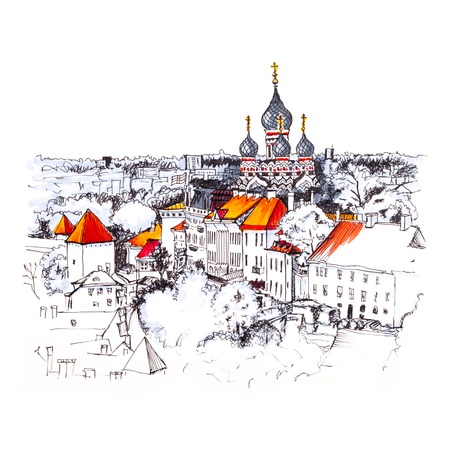 Color hand drawing, Toompea hill with fortress wall, tower and Russian Orthodox Alexander Nevsky Cathedral, view from the tower of St. Olaf church, Tallinn, Estonia. Picture made liner and markers Stock Photo