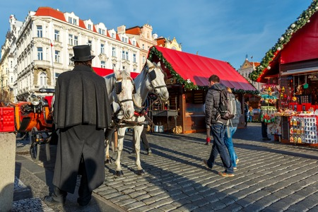 hitched: Coachman in a black hat and coat and white horses hitched to horse carriage waiting for tourists on Christmas Old Town Square of Prague, Czech Republic. Stock Photo