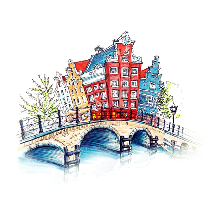 holland: Color hand drawing, city view of Amsterdam typical houses and bridge, Holland, Netherlands. Picture made liner and markers Stock Photo