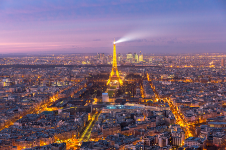 paris france: Night aerial panoramic of Paris skyline, France