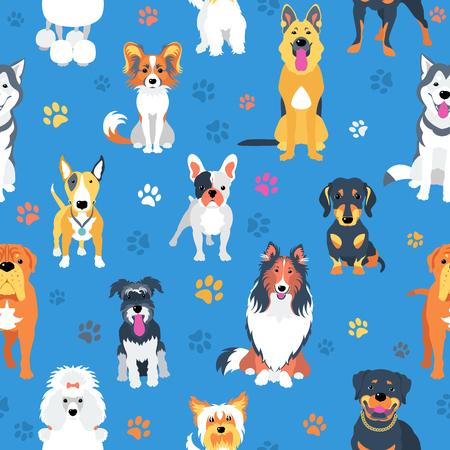 plano de fundo sem emenda com design plano de cães Ilustración de vector