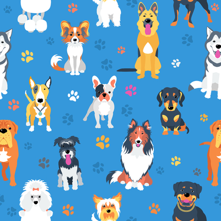 seamless background with dogs flat design