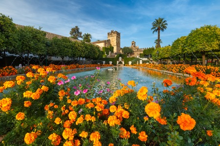 cristian: Blooming gardens and fountains of Alcazar de los Reyes Cristianos, royal palace of the cristian kings, in Cordoba, Andalusia, Spain Stock Photo