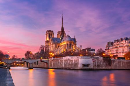 Picturesque grandiose sunset over Cathedral of Notre Dame de Paris, France