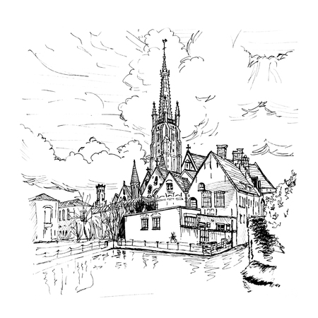 picturesque: Black and white hand drawing, picturesque city landscape with a lake, Old St. Johns Hospital and the Church of Our Lady in Bruges, Belgium. Picture made liner