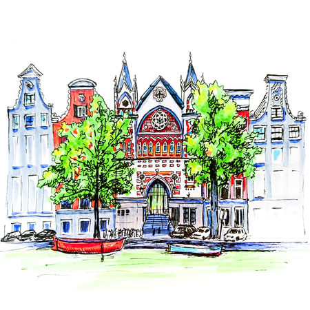 dutch landmark: Color hand drawing, city view of Amsterdam typical houses, canal and church, Holland, Netherlands. Picture made liner
