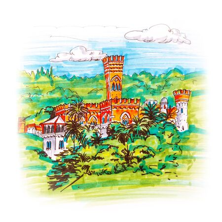 Colorful picturesque castle on a hill in Genoa, Liguria, Italy. Sketch made markers Stock Photo