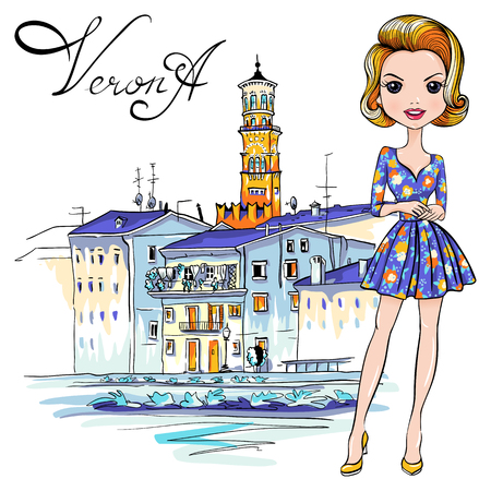 Vector Cute fashionale girl in flowered dress, Verona, Italy. Adige River Embankment and Tower Lamberti in the background