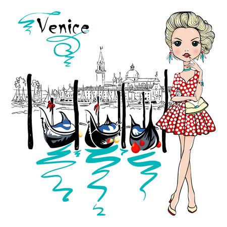 chica de moda hermosa linda en traje de lunares, Venecia, Italia. Las góndolas y San Giorgio Maggiore di iglesia en el fondo