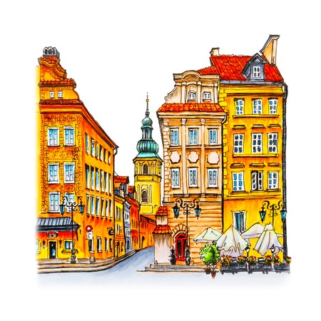 town square: Color hand drawing, Castle Square, Piwna street and Bell tower of St. Martins Church in the morning, Warsaw Old town, Poland. Picture made liner and markers Stock Photo