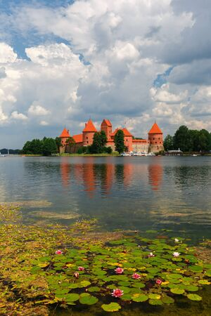 loopholes: Trakai Island Castle in summer day near Vilnius, Lithuania