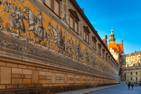 central european: Georgentor and giant mural Furstenzug, Procession of Princes, in the city center of Old town, Dresden, Saxony, Germany Stock Photo
