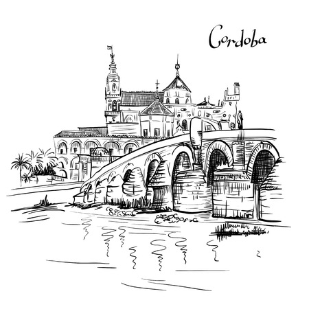 Vector Great Mosque Mezquita - Catedral de Cordoba and Roman bridge across Guadalquivir river, Cordoba, Andalusia, Spain Illustration
