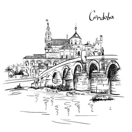 Vector Grote moskee Mezquita - Catedral de Cordoba en Romeinse brug over de rivier Guadalquivir, Cordoba, Andalusië, Spanje