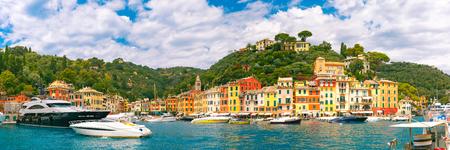 panoramic view: Panoramic view of picturesque harbour of Portofino fishing village on the Italian Riviera, Liguria, Italy. Stock Photo