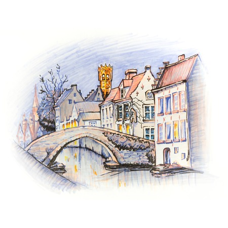old city: Scenic city view of Bruges canal with beautiful medieval houses, Belgium. Picture made markers Stock Photo