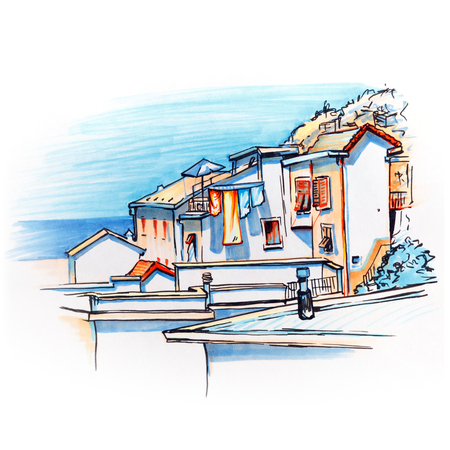 fishing village: Picturesque view of colorful houses in Manarola fishing village in Five lands, Cinque Terre National Park, Liguria, Italy. Picture made markers