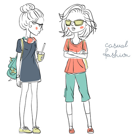 teeny: Hand drawn cute beautiful girls in casual clothes vector Illustration