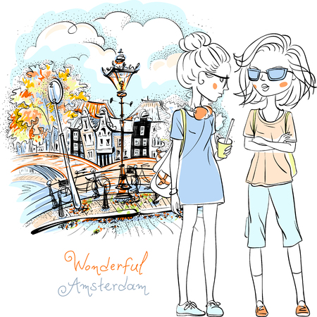 teeny: Hand drawn picture, cute beautiful girls tourist walking down canal in Amsterdam with traditional Dutch house, Holland, Netherlands.