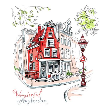 Vectorkleurenhandtekening, stadsmening van het typische huis van Amsterdam met ooievaar en lantaarn, Holland, Nederland.