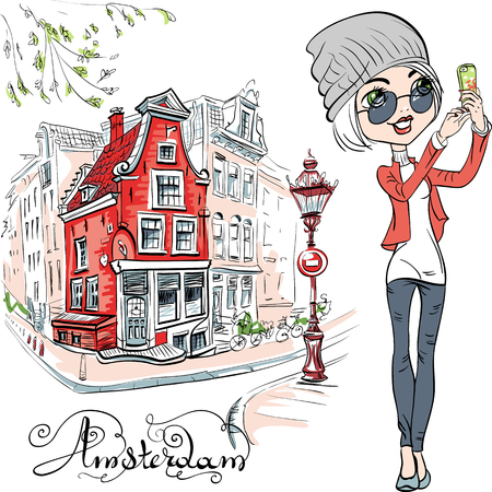 dutch girl: Cute hipster girl makes selfie, street in Amsterdam with traditional Dutch house and streetlight on the background, Holland, Netherlands. Illustration