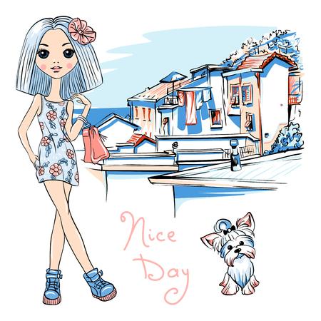 Cute mooie mode meisje in jurk met bloemen en schattige hond Yorkshire terriër, Manarola in vijf landen, Nationaal Park Cinque Terre, Ligurië, Italië.