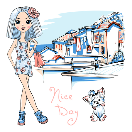 Cute beautiful fashion girl in dress with flowers and cute dog Yorkshire terrier, Manarola in Five lands, Cinque Terre National Park, Liguria, Italy. Illustration