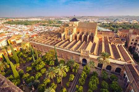 Aerial view of Great Mosque Mezquita - Catedral de Cordoba, Andalusia, Spain