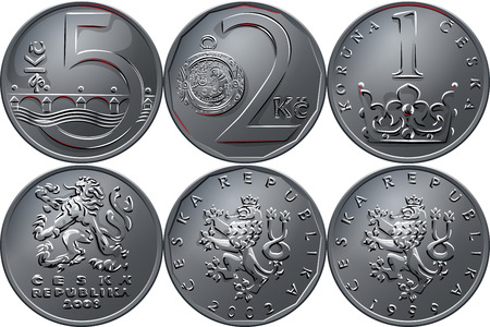 Set silver money, reverse and obvers of the coins one, two and five czech crones
