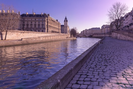 ile de la cite: Embankment of the Seine near the Ile de la Cite in the winter morning, Paris, France