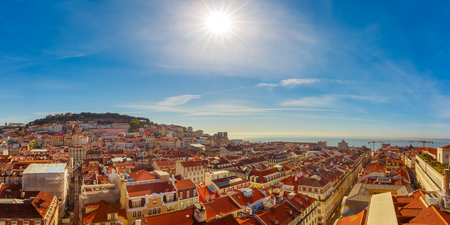 Aerial panoramic view of Castle of Sao Jorge and the historical centre of Lisbon on the sunny afternoon, Lisbon, Portugal